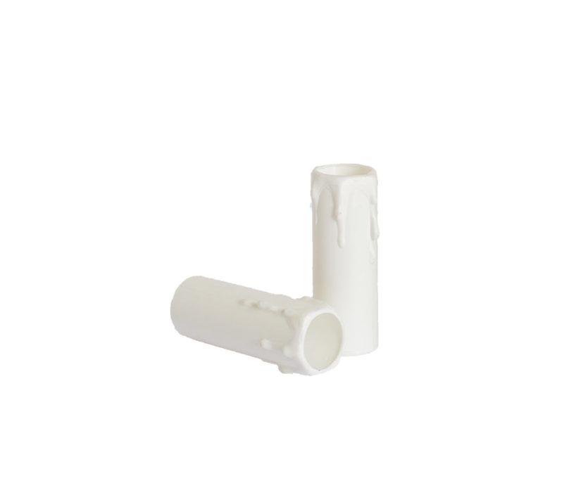 Plastic kaarshuls wit - 100 mm x 23 mm