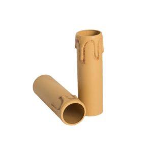 Plastic kaarshuls antiek bruin. Een antiek bruine plastic huls met een lengte van 85 mm, geschikt voor een E14 kaarsfitting.