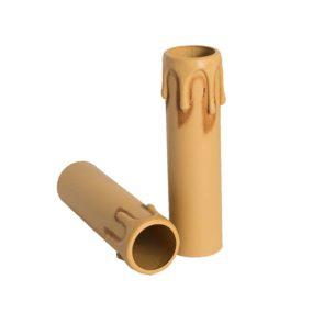 Plastic kaarshuls antiek bruin. Een antiek bruine plastic huls met een lengte van 100 mm, geschikt voor een E14 kaarsfitting.