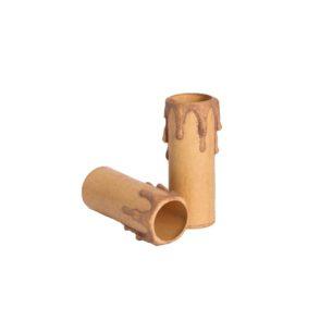 Plastic kaarshuls antiek bruin. Een antiek bruine plastic huls met een lengte van 70 mm, geschikt voor een E14 kaarsfitting.