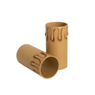 Plastic kaarshuls antiek bruin. Een antiek bruine plastic huls met een lengte van 85 mm, geschikt voor een E27 kaarsfitting.