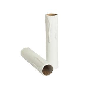 Kaarshuls wit karton. Een witte kartonnen huls voor een kroonluchter met een lengte van 120 mm geschikt voor E14 kaarsfittingen.