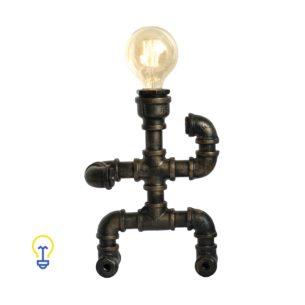 Industriële waterleiding bureaulamp gemaakt van waterleidingen. Een stoere steampunk lamp voor industriële interieurs in barren, winkels en restaurants.