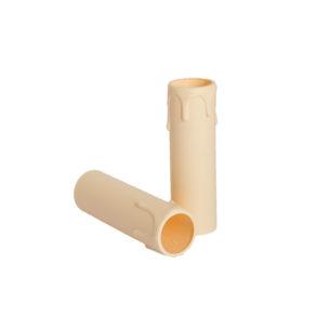 Plastic kaarshuls crème. Een crèmekleurige plastic huls met een lengte van 85 mm, voor een E14 kaarsfitting.