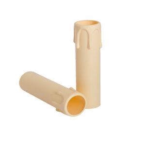 Plastic kaarshuls crème. Een crèmekleurige plastic huls met een lengte van 100 mm, voor een E14 kaarsfitting.