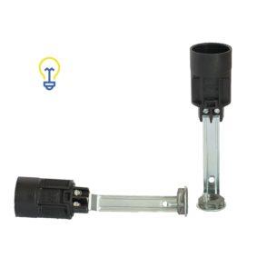 Lamphouders met een kleine, E14 fitting. Fittingen voor lampen, kroonluchters en andere soorten verlichting. Lamphouder van 100 mm lang.