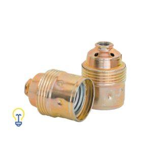 Een Metalen fitting, vermessingde lamphouder met een grote, E27 fitting. Goudkleurige fitting.