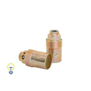 Metalen lamphouder. Een metalen, vermessingde lamphouder met een kleine, E14 fitting.