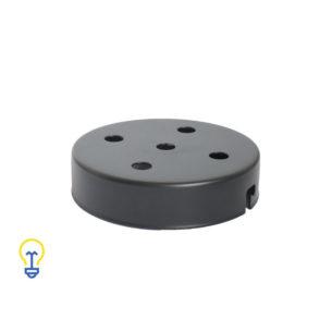 Plafondkap zwart met 5 gaten. Deze platte cilindervormige plafondkap is zwart en heeft 5 gaten.Afdekplaat compleet geleverd met montagebeugel en trekontlasters.