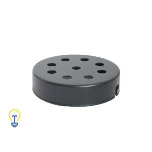 Plafondkap zwart met 9 gaten. Deze platte cilindervormige plafondkap is zwart en heeft 9 gaten.Afdekplaat compleet geleverd met montagebeugel en trekontlasters.