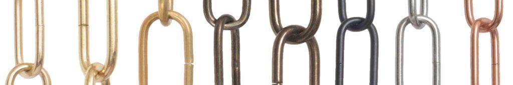 Kettingen. Sierkettingen Kroonluchters ketting brons goud chroom zwart koper