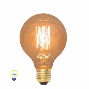 Ronde Kooldraadlamp | Een warme Edison filament bulb met grote E27 fitting. Het warme kooldraad geeft een sierlijk en industrieel effect.