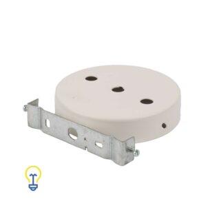 Plafondkap wit metaal rond plat. Deze platte cilindervormige plafondkap is wit gelakt en heeft 3 gaten.Afdekplaat, plafondkapje compleet geleverd met montagebeugel.