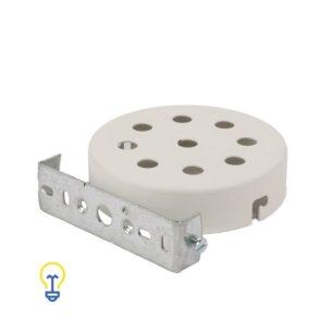 Plafondkap wit metaal rond plat. Deze platte cilindervormige plafondkap is wit gelakt en heeft 9 gaten.Afdekplaat, plafondkapje compleet geleverd met montagebeugel.