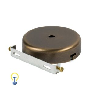 Plafondkap brons plat bruin metaal rond. Deze platte cilindervormige plafondkap is gemaakt van gebronsd bruin metaal en heeft 1 gat.Afdekplaat compleet geleverd met montagebeugel.