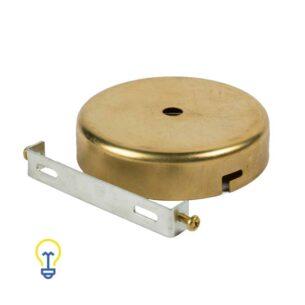 Plafondkap messing dof geel koper metaal rond plat. Deze platte cilindervormige plafondkap is gemaakt van dof, verweerd vermessingd metaal en heeft 1 gat.Afdekplaat compleet geleverd met montagebeugel.