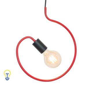 Rode Retro Pendellamp | Hanglamp van rood metaal E27. Deze retropendellamp is geschikt voor zowelkooldraadlampen als ledlampen.