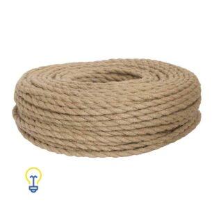 Elektriciteitssnoer met touw | Creatief scheepstouw strijkijzersnoer Jute | rond 2 x 0.75 mm2 | Hanglampen en touwlampen
