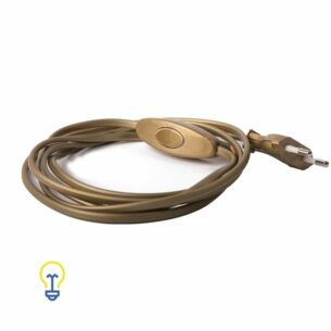 Elektriciteitssnoer met stekker en schakelaar | 2 meter goud snoer | plat 2 x 0.75 mm2 | Kunststof elektriciteitssnoer voor klassieke lampen