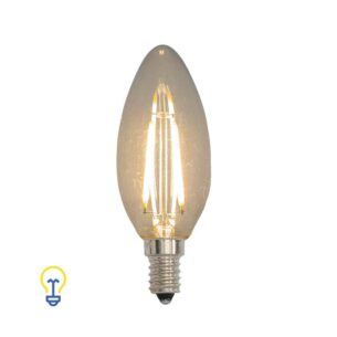 Klassieke Ledlamp Kaarslamp| 2 Watt kleine fitting | Deze E14 filament ledlamp is dimbaar en heeft helder glas | Speciaal voor kroonluchters