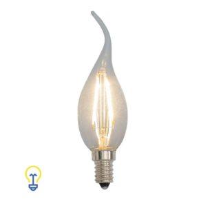 Klassieke Ledlamp Kaarslamp| Tipkaars dimbaar kleine fitting | Deze E14 ledlamp is dimbaar en heeft helder glas | Speciaal voor kroonluchters