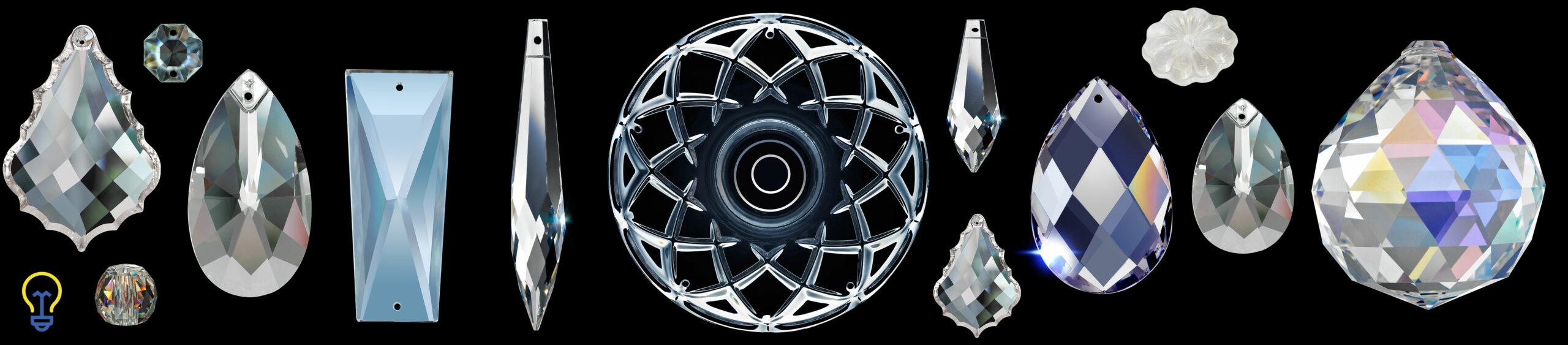Glazen en kristallen onderdelen voor kroonluchters. glas Kristal hangers schaaltje bobeches